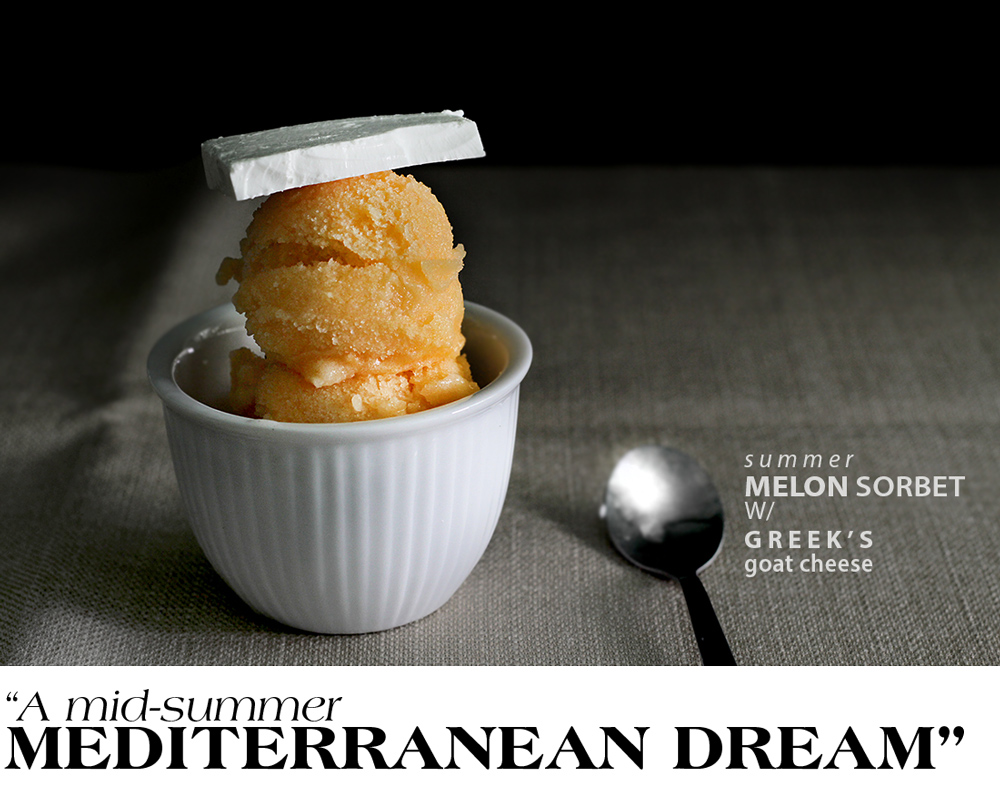 melon sorbet and white cheese