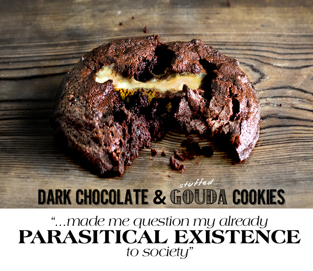 likely pairing dark chocolate & gouda cookie