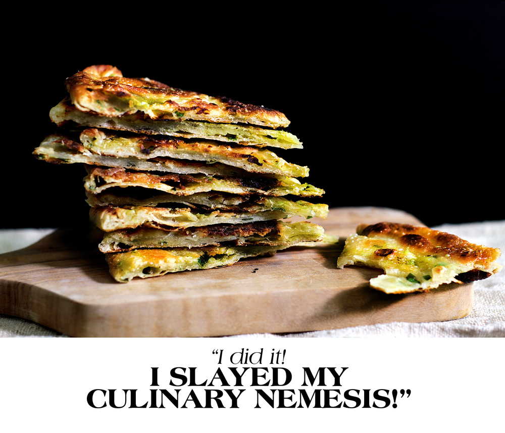 MULTI-LAYERED SCALLION FLAT BREADS