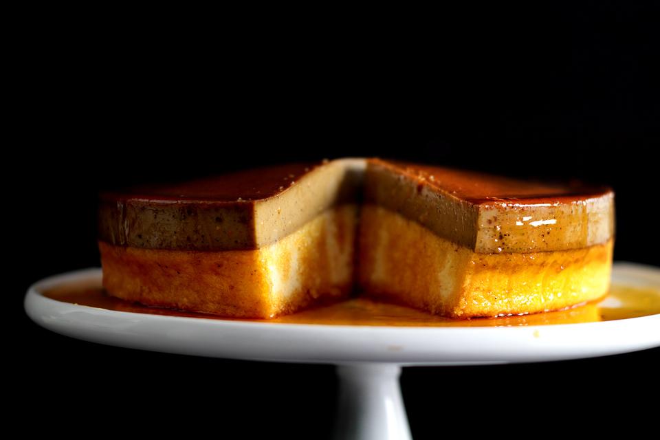 CARAMEL ESPRESSO FLAN/BUTTER ROUX CAKE