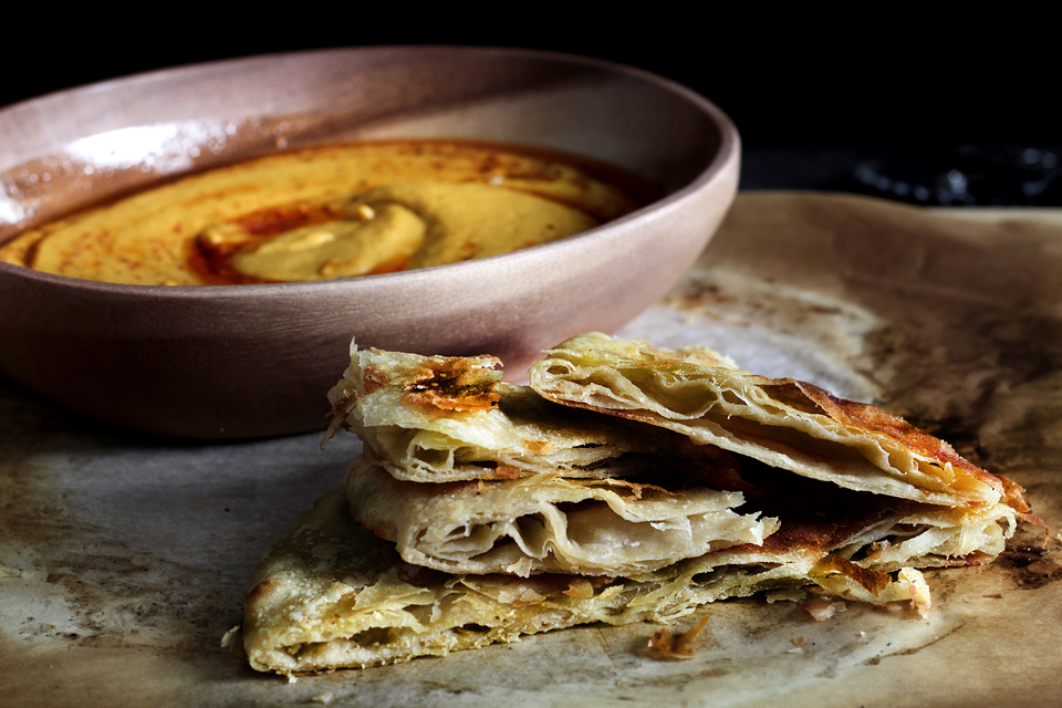 CHEWY LAYERED ROTI + KICKASS DIP