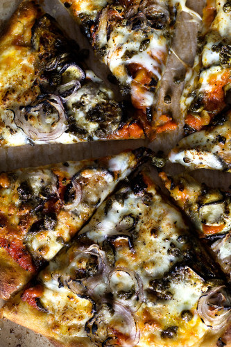 Eggplant parmesan pizza w/ crispy capers | Lady and Pups – an angry ...
