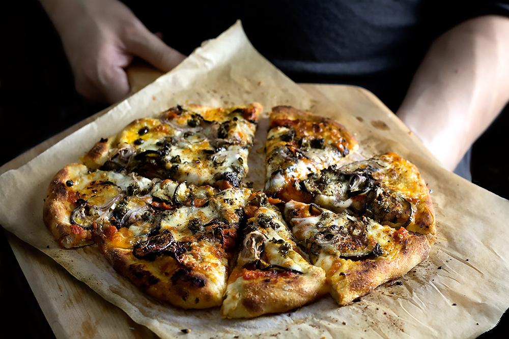 Eggplant parmesan pizza w/ crispy capers