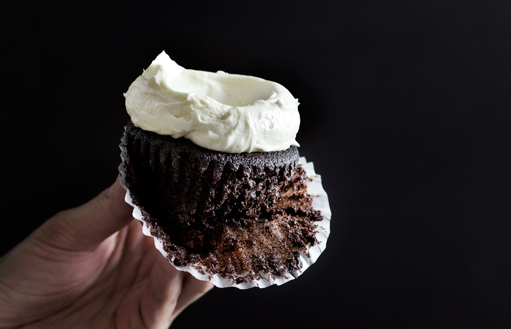 sea salt buttercream on a chocolate cupcake