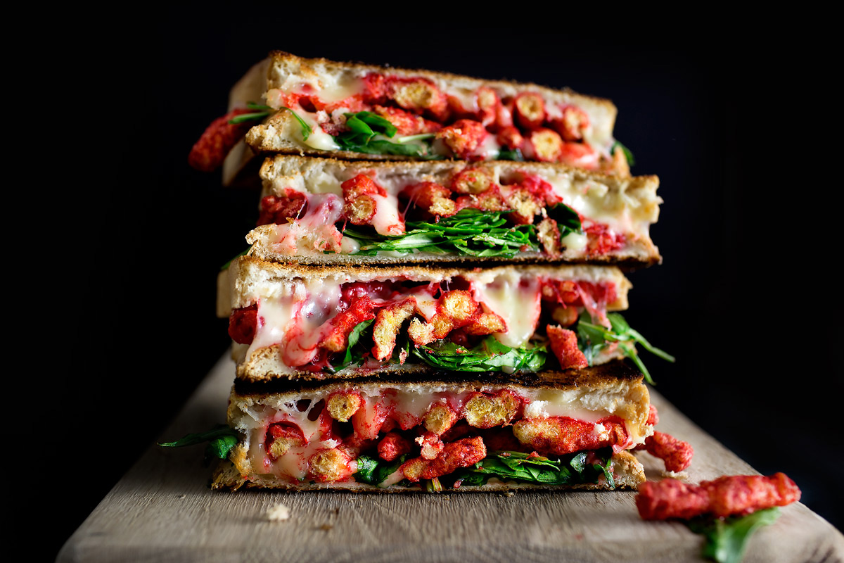THE SHIT I EAT WHEN BY MYSELF – FLAMING CHEETOS + ARUGULA GRILLED CHEESE