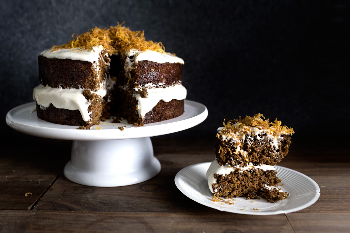 CARROT GINGERBREAD CAKE W/ CARDAMON FROSTING + GINGER FRIES