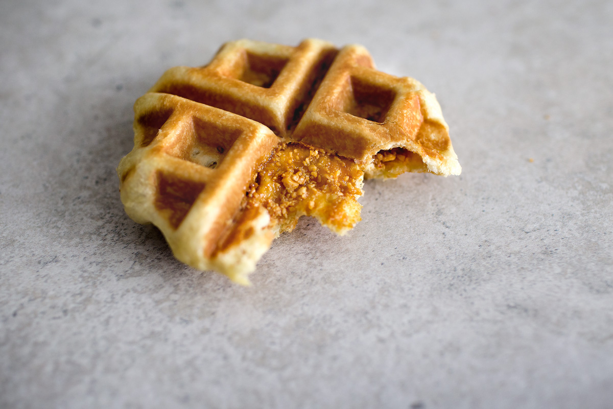 BRIOCHE WAFFLE STUFFED W/ GROUND PEANUT BRITTLE