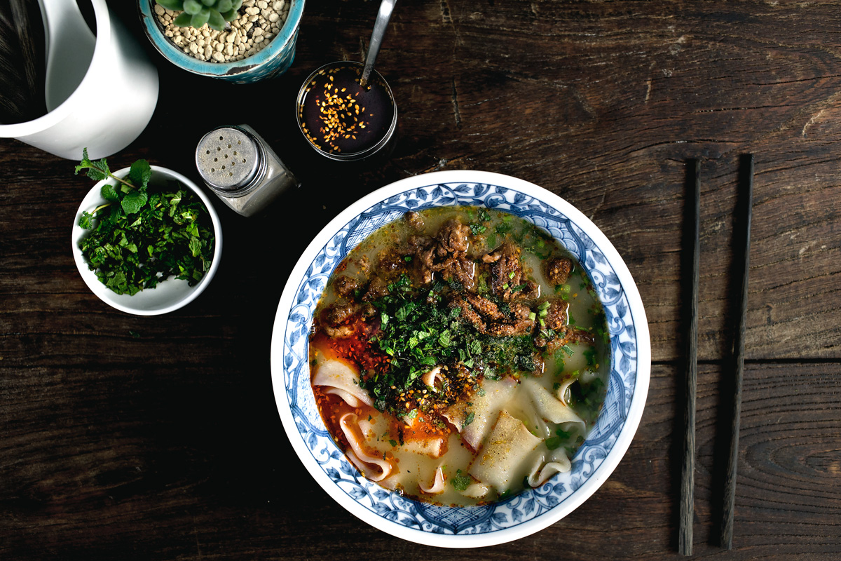 CUMIN LAMB AND HAND-SMASHED NOODLE SOUP