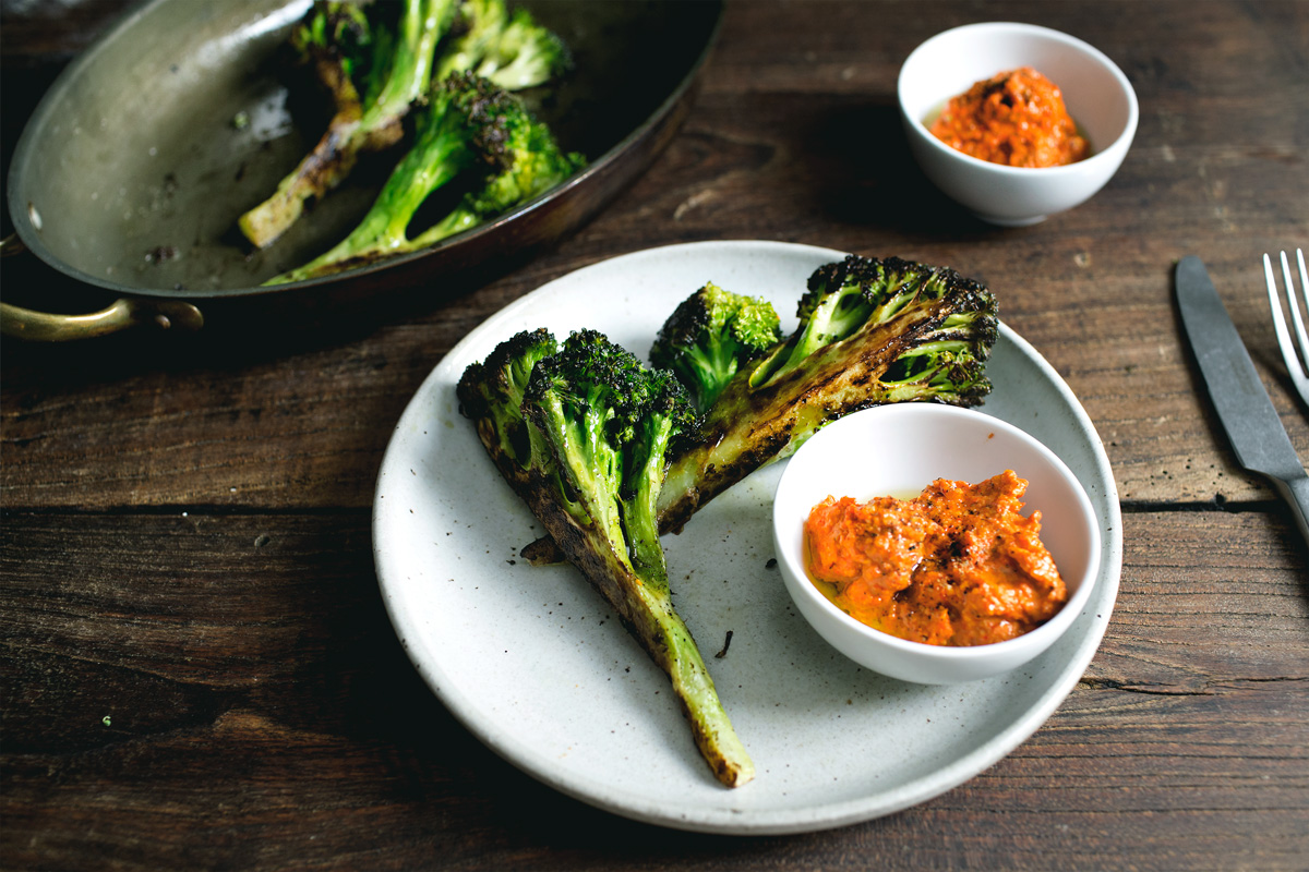 AMAZING BROCCOLI STEAKS W/ RED CHILI SAMBAL ROMESCO
