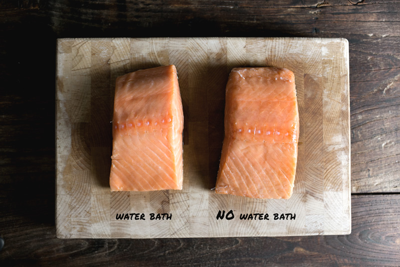 How to easily sous vide in oven with or without water lady and remove the salmon from the bath or oven and let rest for 15 min ccuart Gallery