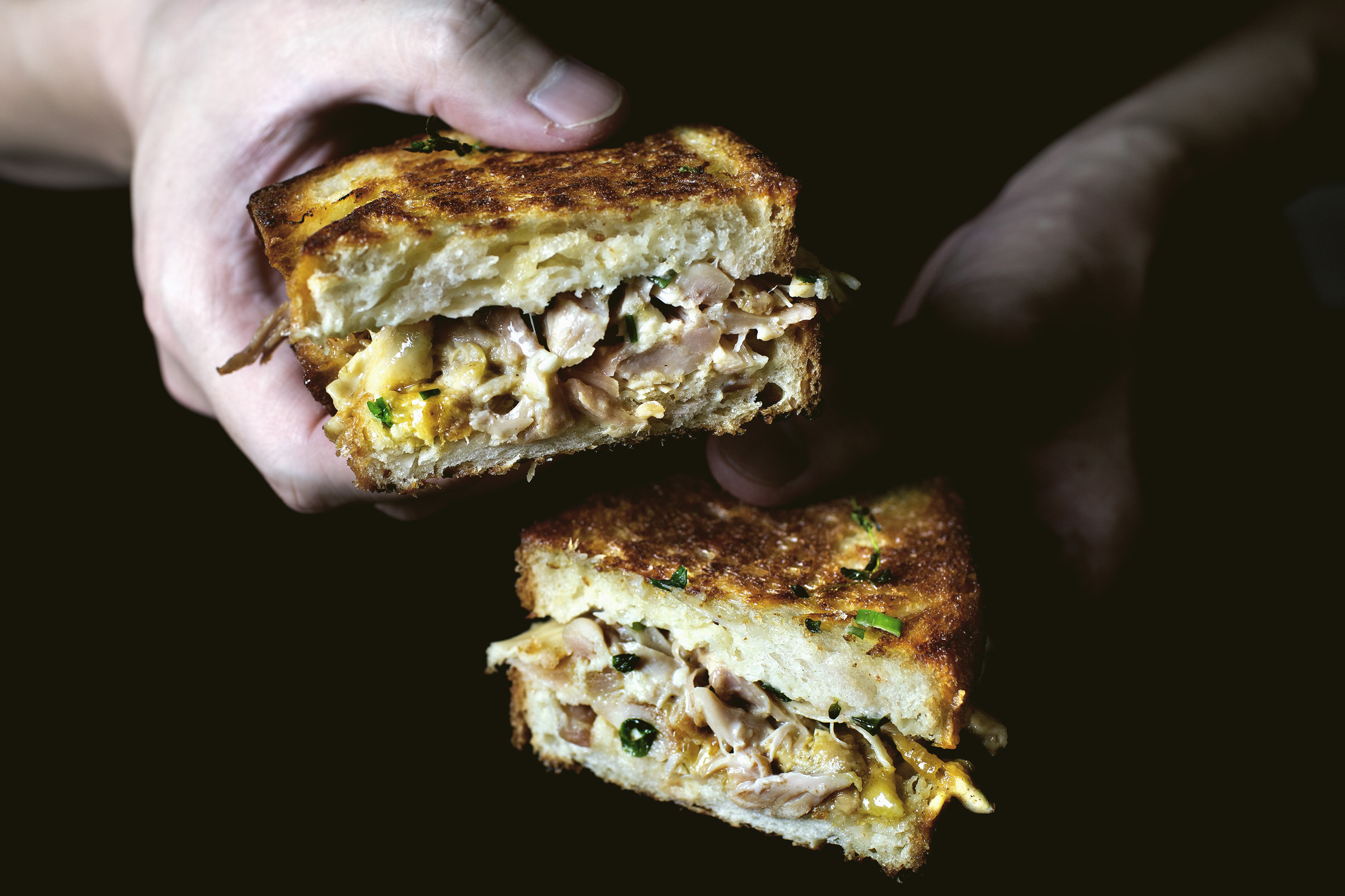 CHICKEN CONFIT GRILLED CHEESE SANDWICH