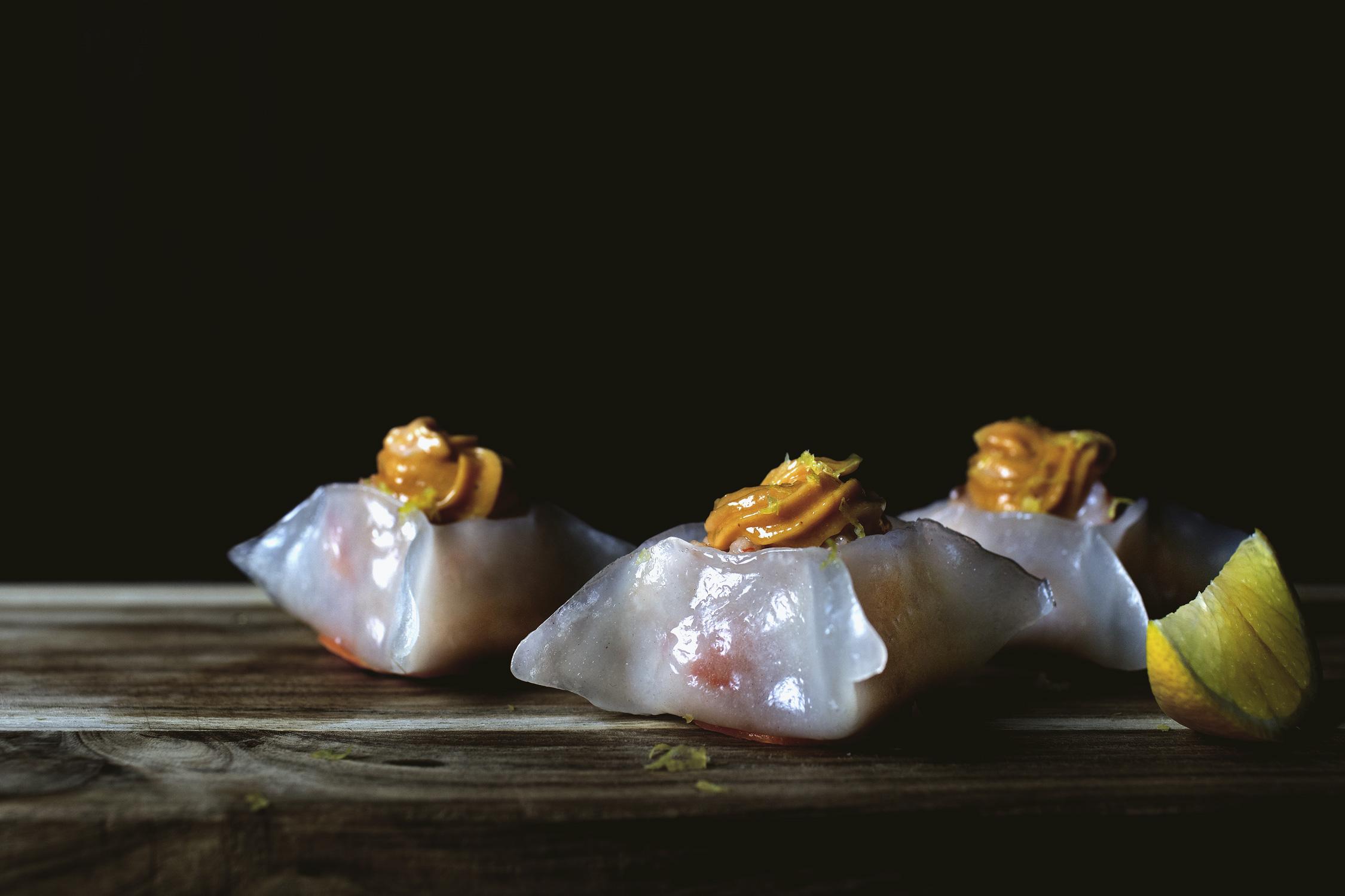 DIM SUM MONTH: Crystal shrimp dumpling w/ shrimp oil mayo