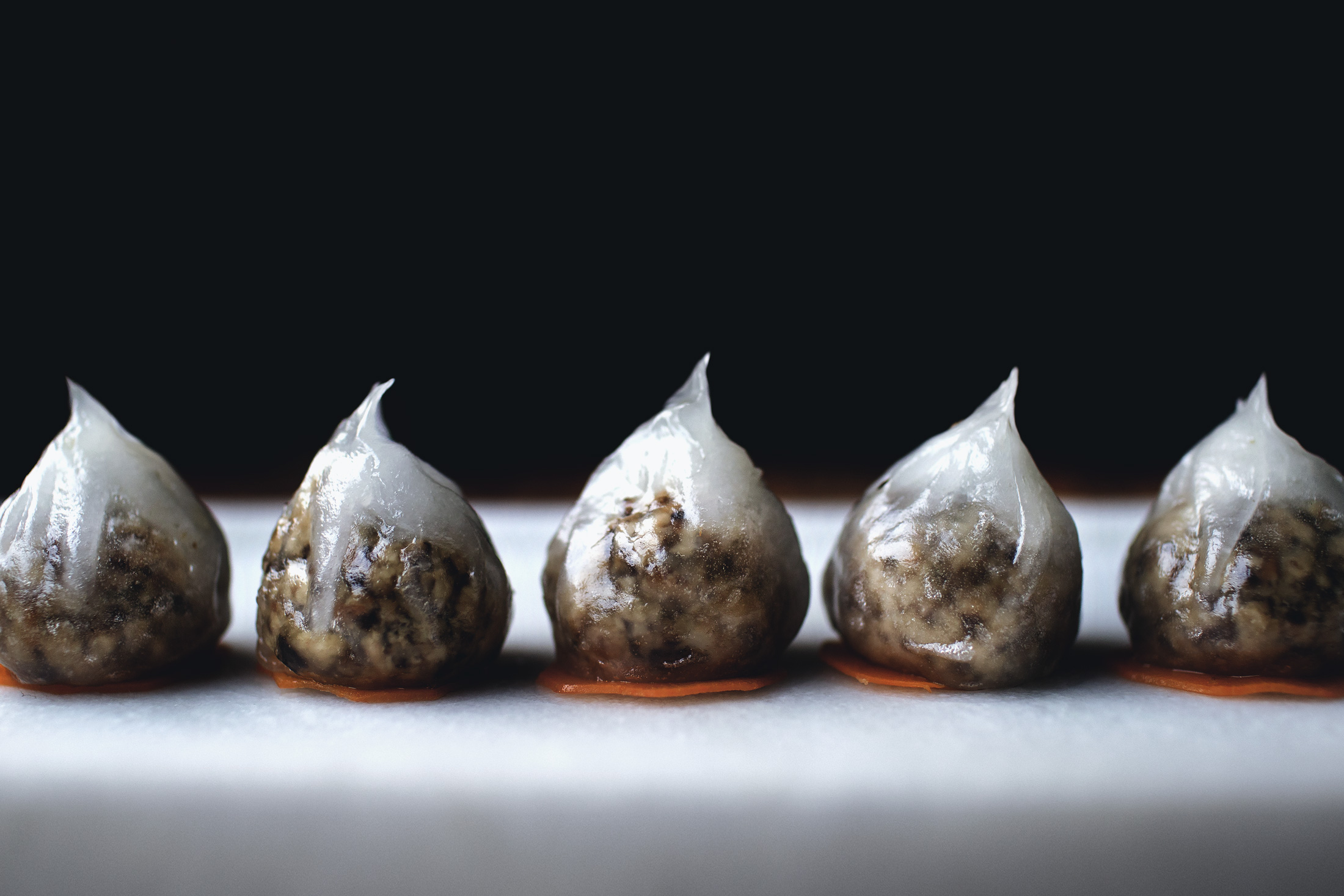 DIM SUM MONTH: GLASS DUMPLINGS W/ MUSHROOMS AND SMOKED GOUDA CHEESE