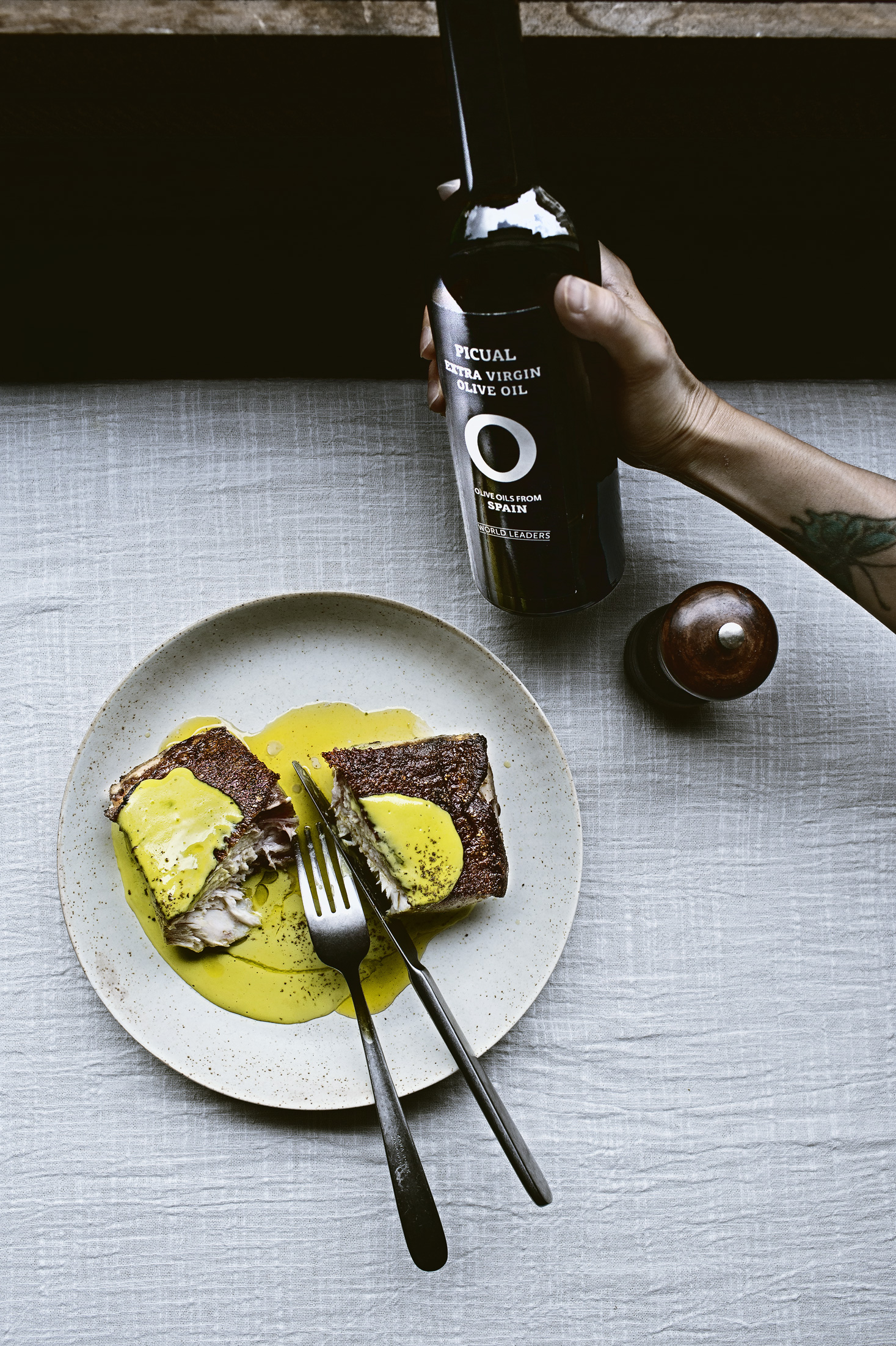 OLIVE OIL FROM SPAIN – HALIBUT SOUS VIDE IN HERBY EXTRA VIRGIN  OLIVE OIL FROM SPAIN