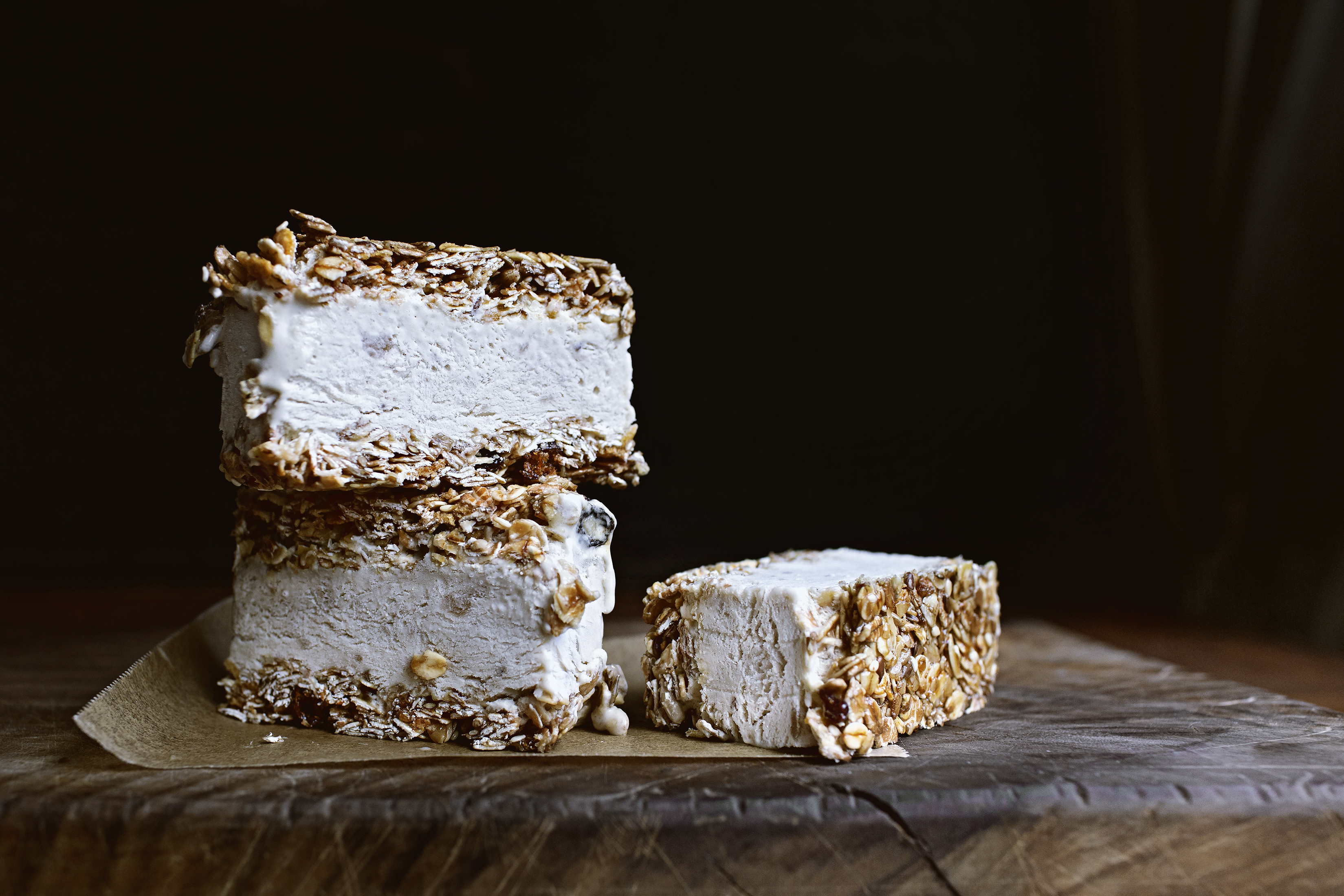 Granola and no-churn banana ice cream bars